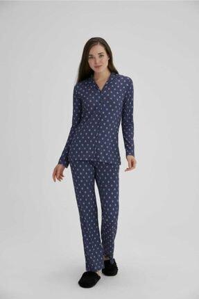 Eros Esk27692 Kadın Lacivert Çiçekli Gömlek Uzun Kol Pijama Takım