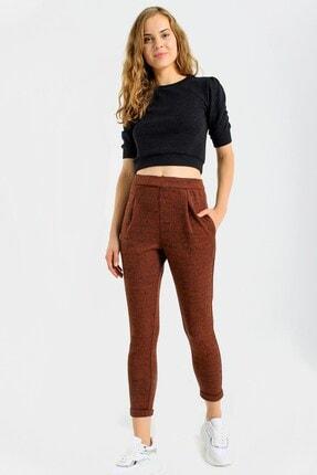 Jument Cepli Desenli Yüksek Bel Rahat Kışlık Pantolon-kiremit