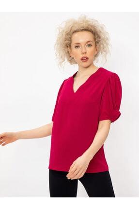 Vekem Kadın Fuşya V Yaka Balon Kol Bluz