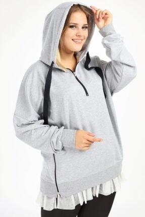 ANGELINO Kadın Gri Büyük Beden Spor Giyim Altı Tül Tasarım Sweat Üst 2526