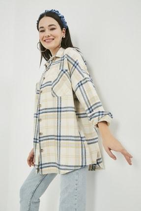 Sateen Kadın Mavi Oversize Ekose Oduncu Gömlek Ceket  STN486KGO102