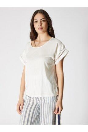 Vekem Kadın Kırık Beyaz Kayık Yaka Japone Kol Bluz 9107-0090