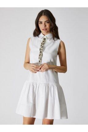 Vekem Kadın Beyaz Gömlek Yaka Kolsuz Mini Elbise 9109-0047