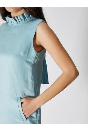 Vekem Kadın Turkuaz Kolsuz Fiyonk Detaylı Mini Elbise 9109-0086