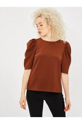 Vekem Kadın Kahverengi Kısa Kol Büzgülü Bluz