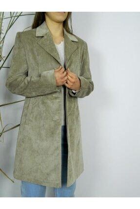 Eflatun Kadın Bej Kadife Ceket