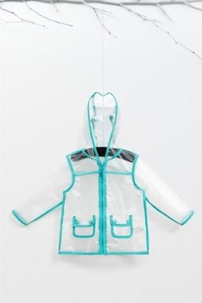 Wogi Unisex Çocuk Mint Yeşli Kapüşonlu Cepli Şeffaf Yağmurluk