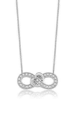 Valori Jewels Sonsuzluk Kalp Swarovski Zirkon Beyaz Taşlı Gümüş Kolye