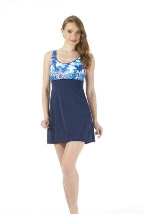 ESTİVA Kadın Lacivert Desenli Elbise Mayo