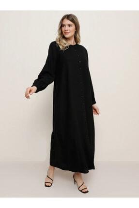 Alia Kadın Siyah Doğal Kumaşlı Boydan Düğmeli Elbise