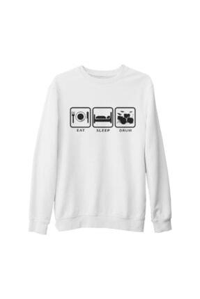 Lord Unisex Beyaz Eat Sleep Drum Kalın Sweatshirt