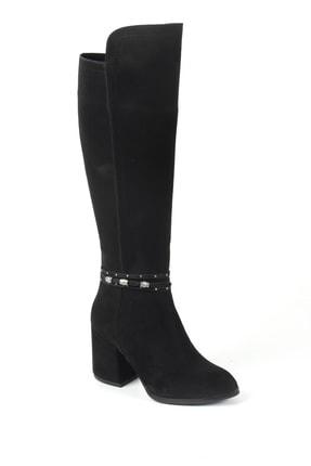 Sapin Kadın Siyah Süet Topuklu Çizme 33706
