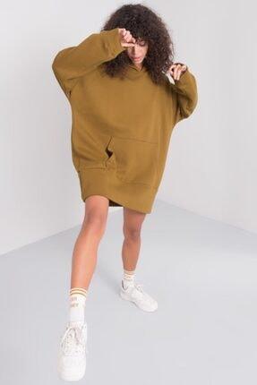 Bsl Kadın Haki Kapişonlu Sweat Elbise