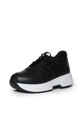 Beta Kadın Hakiki Deri Sneaker Spor Ayakkabı Siyah