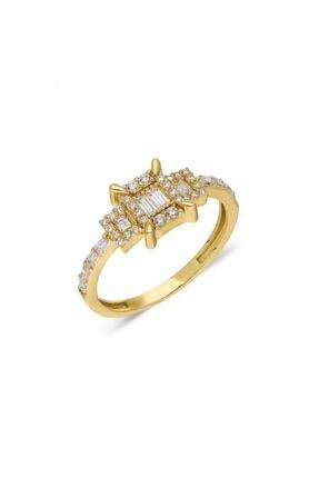 Pink Gold Store Herre Yan Baget Taşlı 14 Ayar 2.29 gr Altın Yüzük