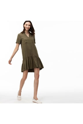 Lacoste Kadın V Yaka Denim Haki Elbise