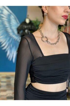 Bsl Kadın Siyah Crop Bluz Kolları ve Sırtı Tül Detay Büstiyer