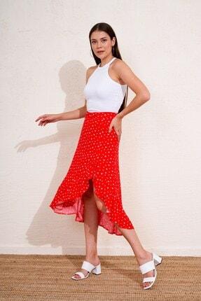 Eka Kadın Kırmızı Beli Lastikli Desenli Etek