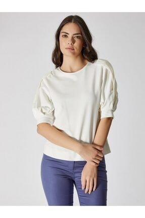Vekem Kadın Kırık Beyaz Şifon Kol Detaylı Pamuklu Bluz 9107-0074