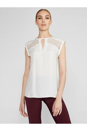 Vekem Kadın Beyaz Dantel Detaylı %100 Kupra Bluz 8107-0174