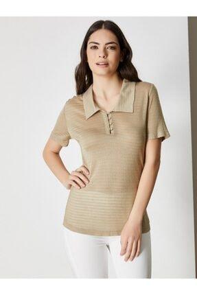 Vekem Kadın Vizon Gold Gömlek Yaka Simli Bluz 9107-0086