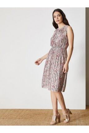 Vekem Kadın Bej Pembe Desenli Piton Baskılı Pliseli Midi Elbise 9109-0098