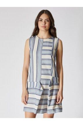 Vekem Kadın Mavi Ekru Çizgili Sıfır Yaka Pamuk Mini Elbise 9109-0093