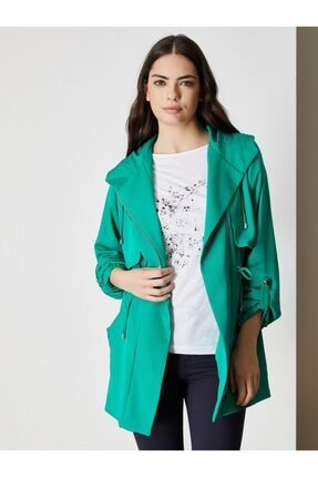 Vekem Kadın Yeşil Kapüşonlu Belden Büzgülü Trençkot 9123-0003