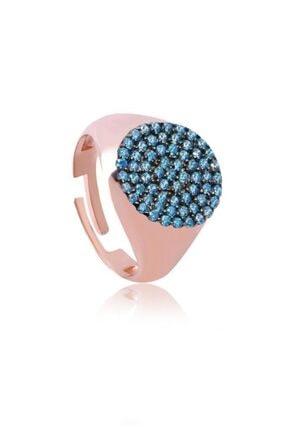 Coşar Silver Mavi Taşlı Oval Serçe Parmak Yüzüğü