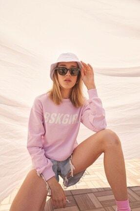 Eka Kadın Lila Bskgirl Baskılı Kısa Sweatshirt