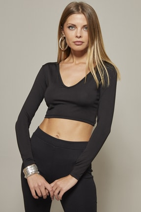 Cool & Sexy Kadın Siyah V Yaka Crop Bluz CG128