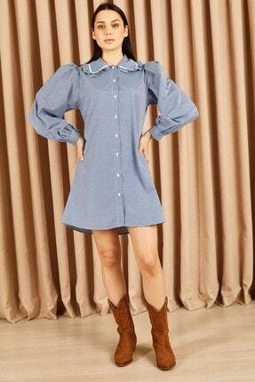 Hadise Yaka Fırfırlı Bol Tunik Saks Mavi