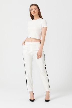 Seçil Kadın Şerit Detaylı Pantolon 2913003 Beyaz