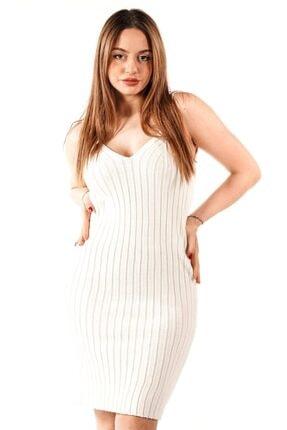 Quzu Kadın Beyaz Fitilli Triko Elbise