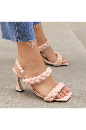 Nikopa Pudra Rengi Örgülü Topuklu Sandalet TX5C6823FC17322