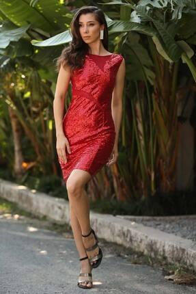 Nesrinden Kadın Kırmızı Mini Boy Abiye Elbise