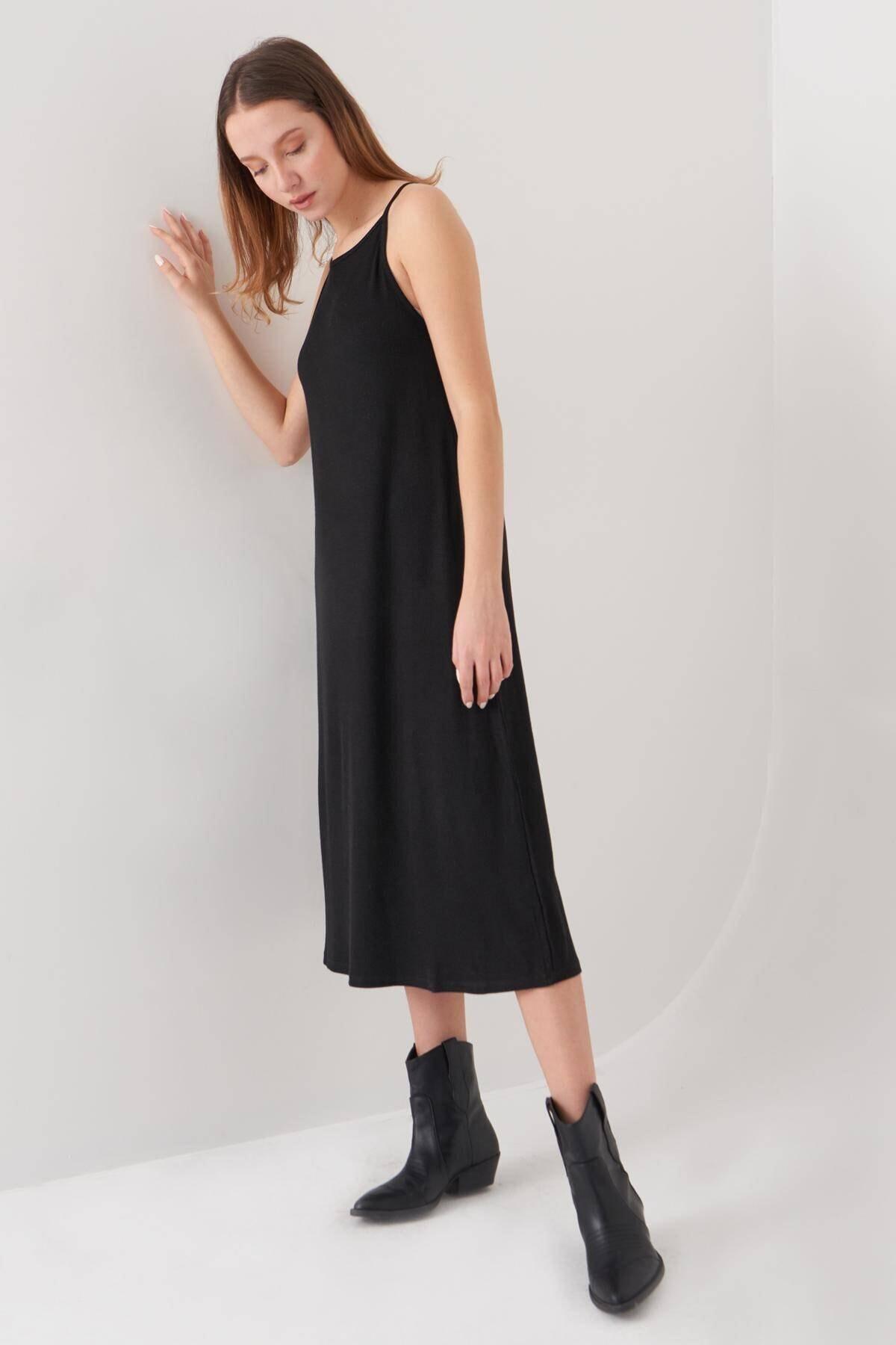 Addax Kadın Siyah İnce Askılı Elbise E0999 - E10 Adx-0000022550