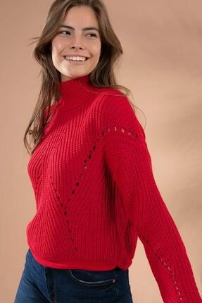 Y-London Kadın Kırmızı Uzun Boğazlı Triko Kısa Kazak 5111-2