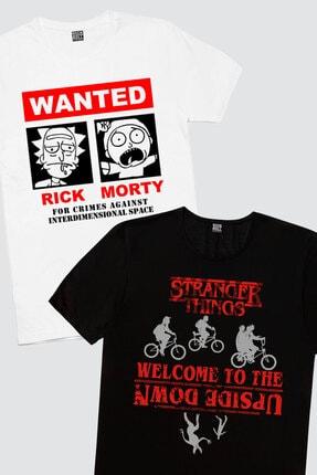 Rock & Roll34 Kadın Siyah Bisikletli Stranger Things, Beyaz Aranıyor 2'li Eko Ekran Paket T-shirt