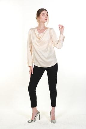 Bsl Kadın Ekru Degaje Yaka Saten Bluz