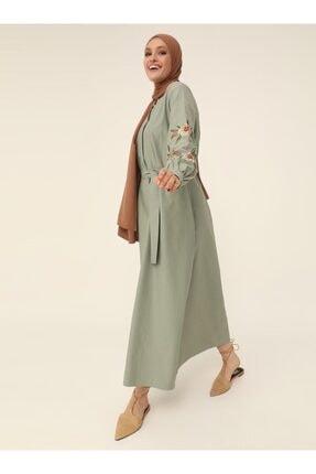 Refka Kolları Nakışlı Poplin Elbise - Kekik - Woman