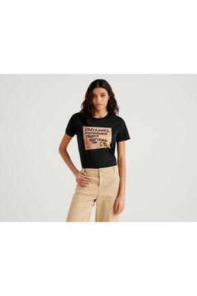 Benetton Kadın Siyah Baskılı T-shirt