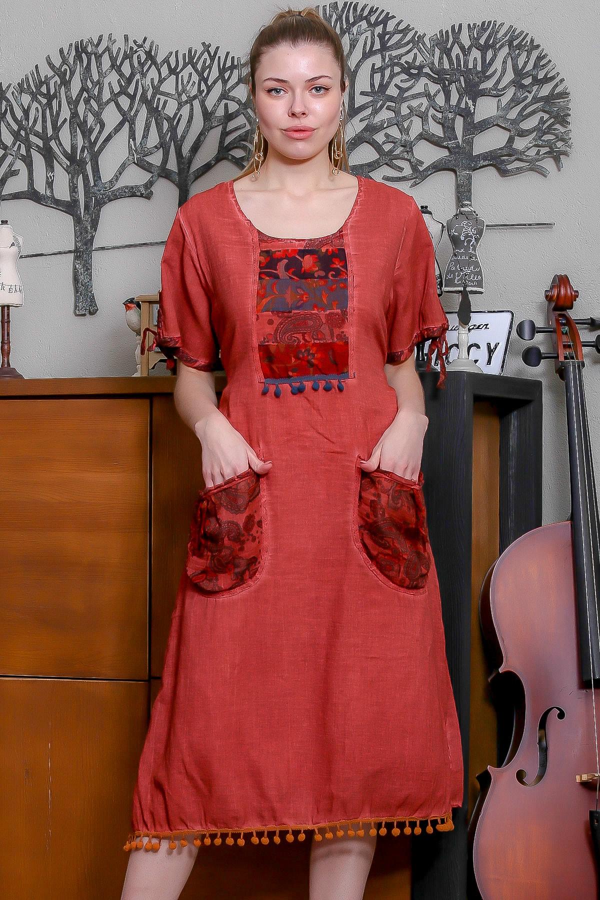 Chiccy Kadın Kiremit Tülbent Detaylı Cepli Etek Ucu Ponponlu Yıkamalı Astarlı Elbise M10160000EL95329