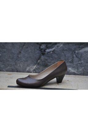 Kadın Kahverengi  Büyük Numara Topuklu Ayakkabı 99773248923