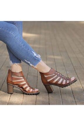 Fersa Taba Rengi Kafesli Topuklu Sandalet TX5C6823FC16694