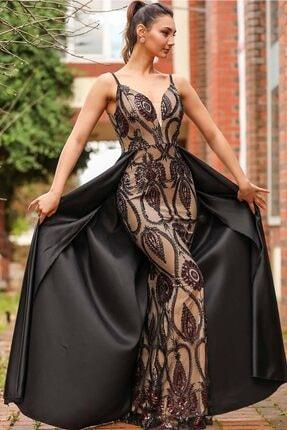 Nesrinden Kadın Siyah  Pullu Bordo Balık Model Abiye