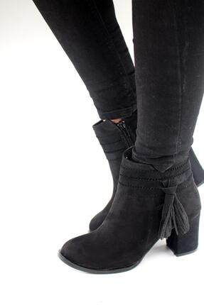 Kadın Siyah Süet Shoes Püskül  Topuklu Bot SHOES-PÜSKÜL