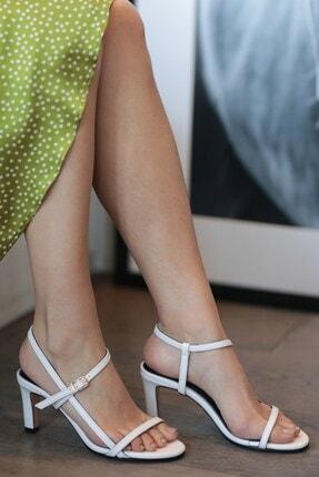 Mio Gusto Hakiki Deri Patricia Beyaz Topuklu Ayakkabı