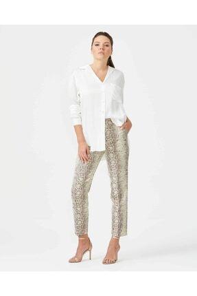 Seçil Kadın Bej Yılan Desenli Pantolon