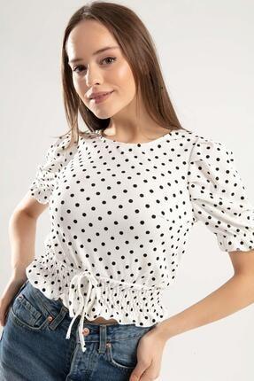 Y-London Kadın Beyaz Beli Ve Bileği Lastikli Crop T-Shirt Y20S104-1656